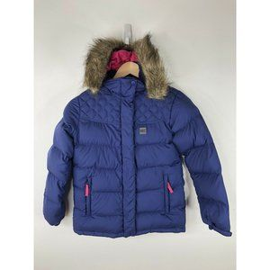 MEC REI Winter Down Jacket Coat Puffer Girls Size 12 Blue Hooded